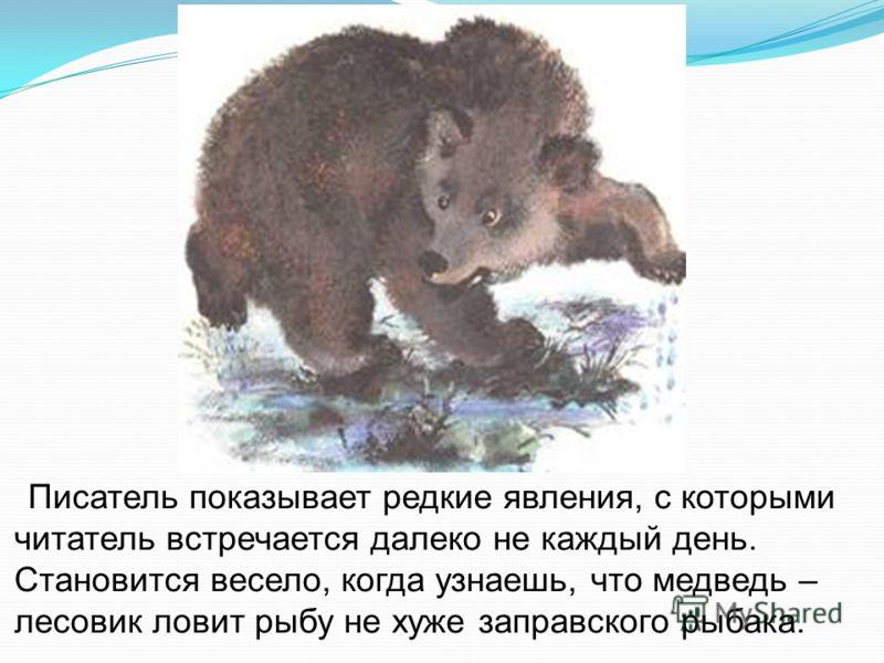 Писатель показывает редкие явления, с которыми читатель встречается далеко не каждый день. Становится весело, когда узнаешь, что медведь – лесовик ловит рыбу не хуже заправского рыбака.
