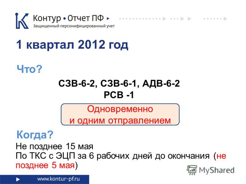 Что? Одновременно и одним отправлением 1 квартал 2012 год СЗВ-6-2, СЗВ-6-1, АДВ-6-2 РСВ -1 Не позднее 15 мая По ТКС с ЭЦП за 6 рабочих дней до окончания (не позднее 5 мая) Когда?