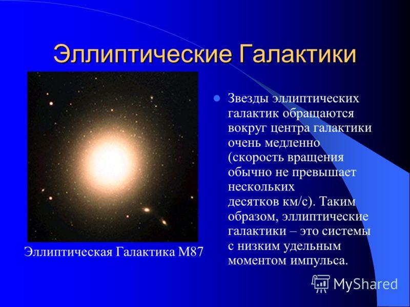 Эллиптические Галактики Эллиптические галактики составляют примерно 25 % от общего числа галактик высокой светимости. Их принято обозначать буквой E (англ. elliptical). Эллиптическая Галактика М32