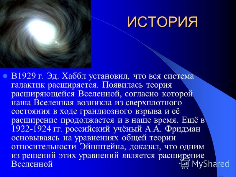 ИСТОРИЯ В 1912 г. В. Слайфер – американский астроном – обнаружил в спектрах далёких галактик смещение линий к красному концу. В 20-е гг. стало ясно : спиральные туманности, а далёкие звёздные системы. В 1924 г. Эд. Хаббл и Дж. Ричи разложили на звёзд