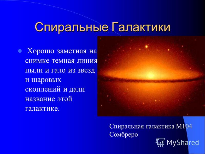 Спиральные Галактики Было доказано, что спиральные туманности – это огромные звездные системы, похожие на нашу Галактику и удаленные от нее на миллионы световых лет. С тех пор их и стали называть галактиками Спиральная галактика NGC4414