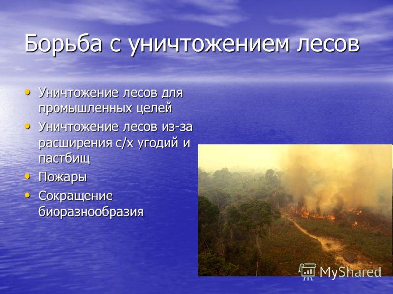 Борьба с уничтожением лесов Уничтожение лесов для промышленных целей Уничтожение лесов для промышленных целей Уничтожение лесов из-за расширения с/х угодий и пастбищ Уничтожение лесов из-за расширения с/х угодий и пастбищ Пожары Пожары Сокращение био