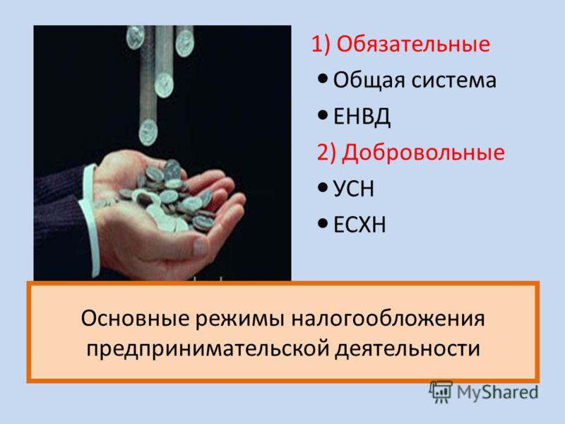 Основные режимы налогообложения предпринимательской деятельности 1) Обязательные Общая система ЕНВД 2) Добровольные УСН ЕСХН