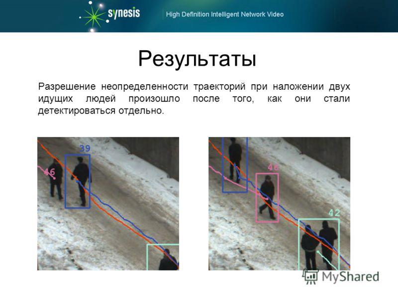 Результаты Разрешение неопределенности траекторий при наложении двух идущих людей произошло после того, как они стали детектироваться отдельно.