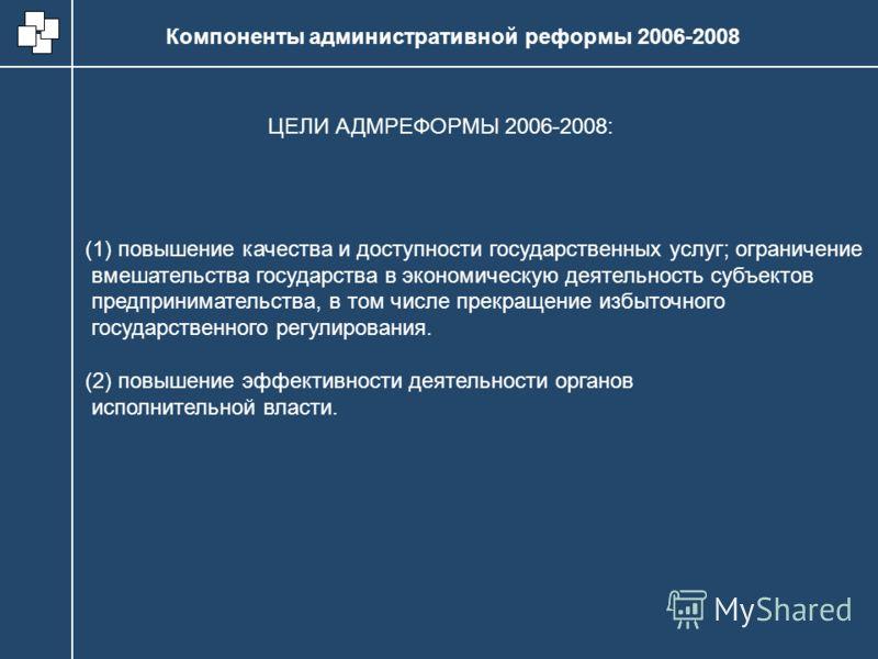Компоненты административной реформы 2006-2008 (1) повышение качества и доступности государственных услуг; ограничение вмешательства государства в экономическую деятельность субъектов предпринимательства, в том числе прекращение избыточного государств