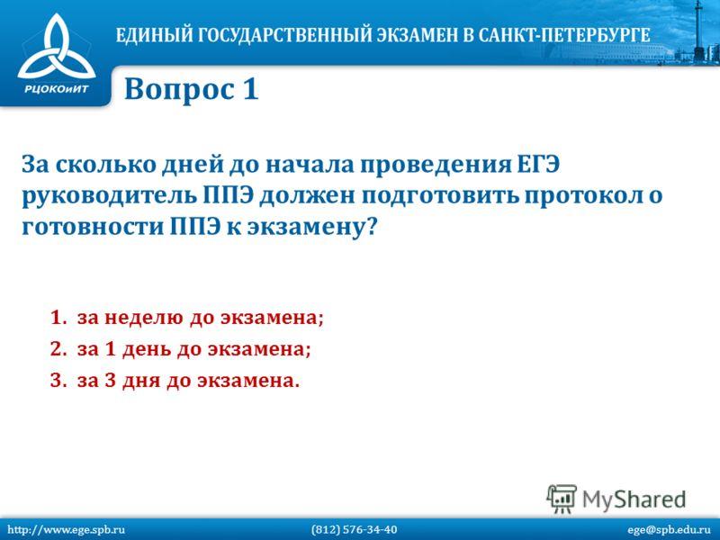 За сколько дней до начала проведения ЕГЭ руководитель ППЭ должен подготовить протокол о готовности ППЭ к экзамену? 1.за неделю до экзамена; 2.за 1 день до экзамена; 3.за 3 дня до экзамена. Вопрос 1 http://www.ege.spb.ru (812) 576-34-40 ege@spb.edu.ru
