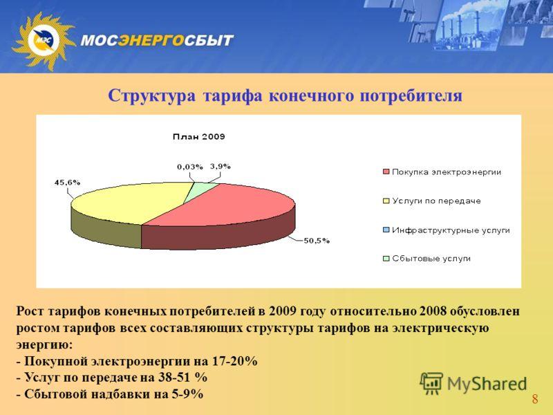 8 Структура тарифа конечного потребителя Рост тарифов конечных потребителей в 2009 году относительно 2008 обусловлен ростом тарифов всех составляющих структуры тарифов на электрическую энергию: - Покупной электроэнергии на 17-20% - Услуг по передаче