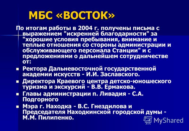 МБС «ВОСТОК» По итогам работы в 2004 г. получены письма с выражением