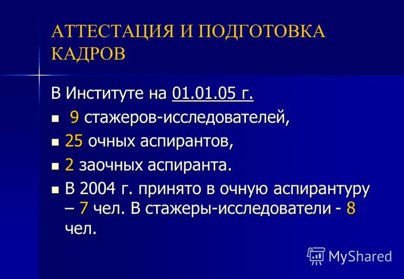 АТТЕСТАЦИЯ И ПОДГОТОВКА КАДРОВ В Институте на 01.01.05 г. 9 стажеров-исследователей, 9 стажеров-исследователей, 25 очных аспирантов, 25 очных аспирантов, 2 заочных аспиранта. 2 заочных аспиранта. В 2004 г. принято в очную аспирантуру – 7 чел. В стаже