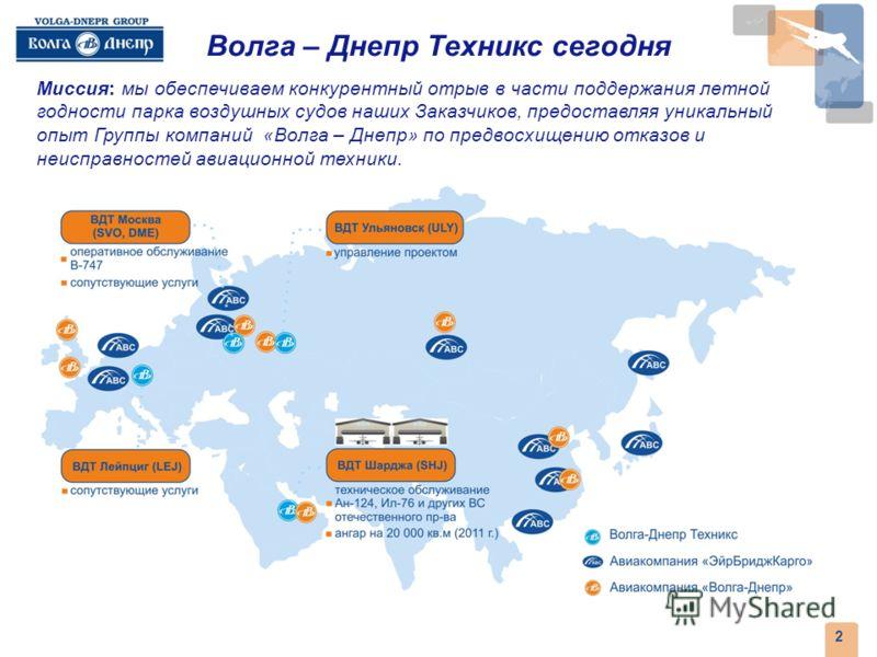 2008 1 1991 ЗАО АК «Волга-Днепр» зарегистрировано в Ульяновске под номером 1, став одной из первых акционерных компаний в России и первой частной грузовой авиакомпанией. Компания начала свою работу с эксплуатации двух грузовых ВС АН-12 и одного Ан-12