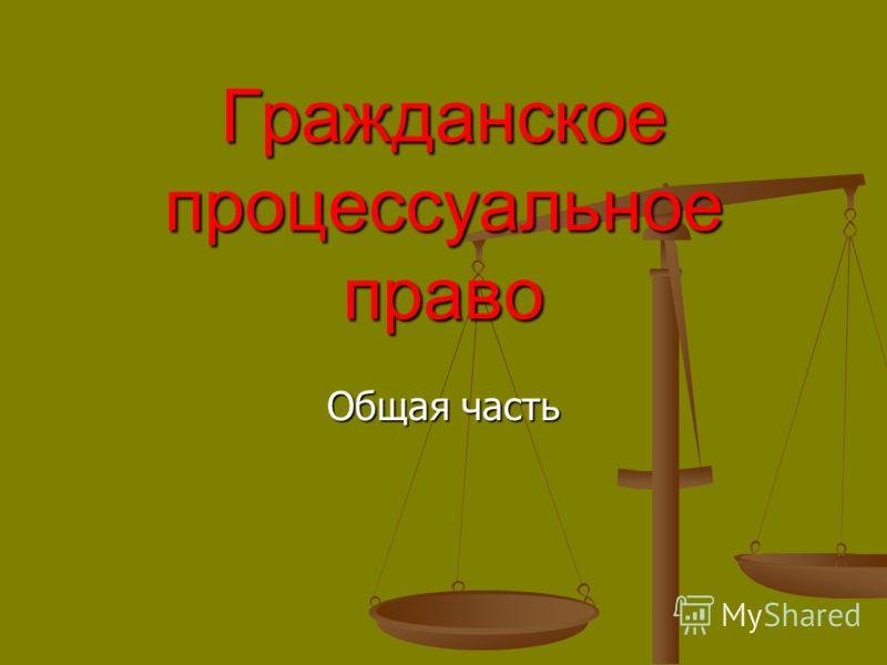 Гражданское процессуальное право Общая часть