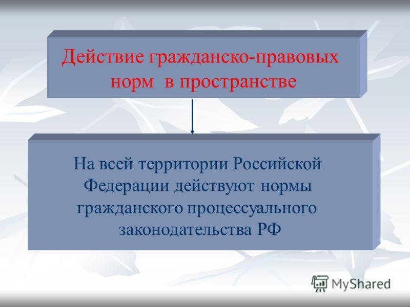 Действие гражданско-правовых норм в пространстве На всей территории Российской Федерации действуют нормы гражданского процессуального законодательства РФ