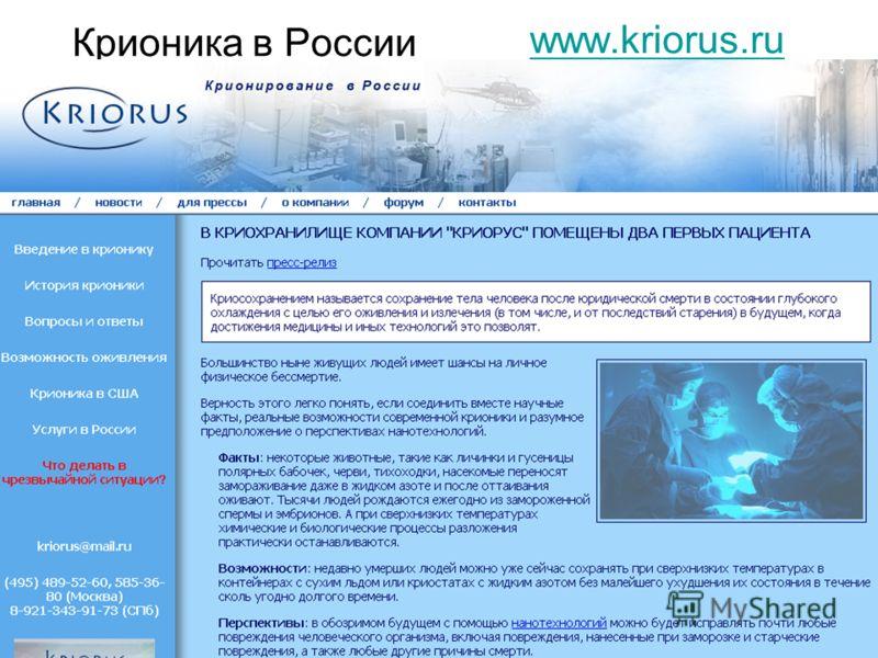 Крионика в России www.kriorus.ru