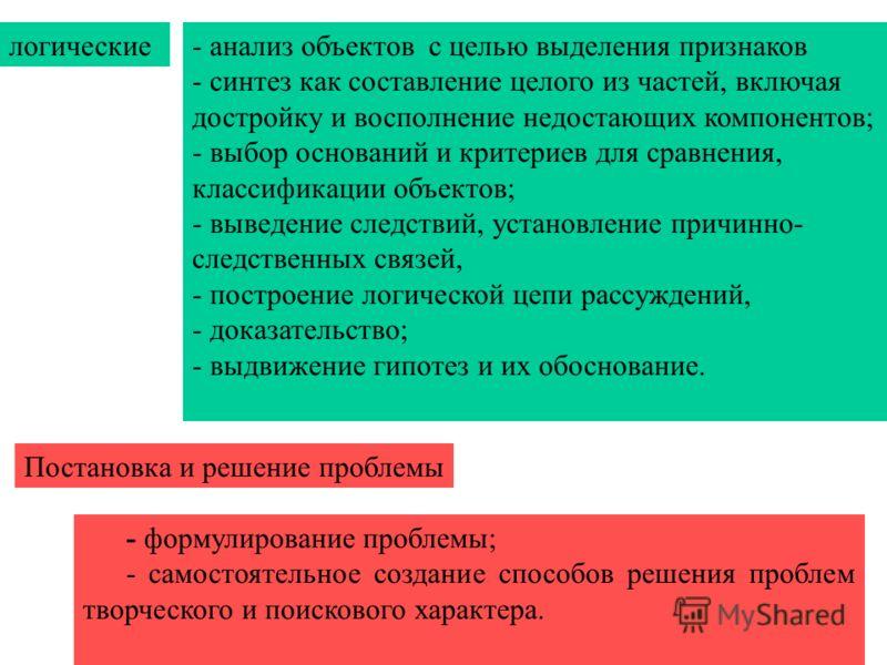 логические- анализ объектов с целью выделения признаков - синтез как составление целого из частей, включая достройку и восполнение недостающих компонентов; - выбор оснований и критериев для сравнения, классификации объектов; - выведение следствий, ус