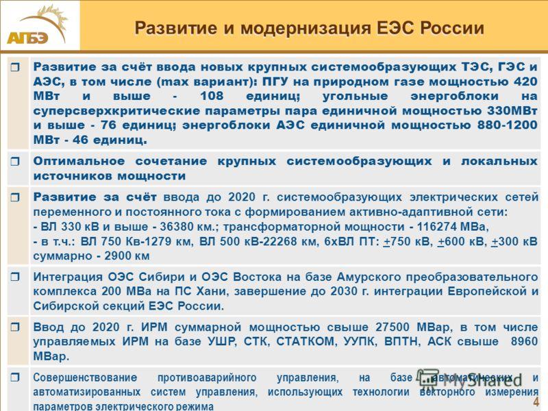 4 Развитие и модернизация ЕЭС России Развитие за счёт ввода новых крупных системообразующих ТЭС, ГЭС и АЭС, в том числе (max вариант): ПГУ на природном газе мощностью 420 МВт и выше - 108 единиц; угольные энергоблоки на суперсверхкритические параметр