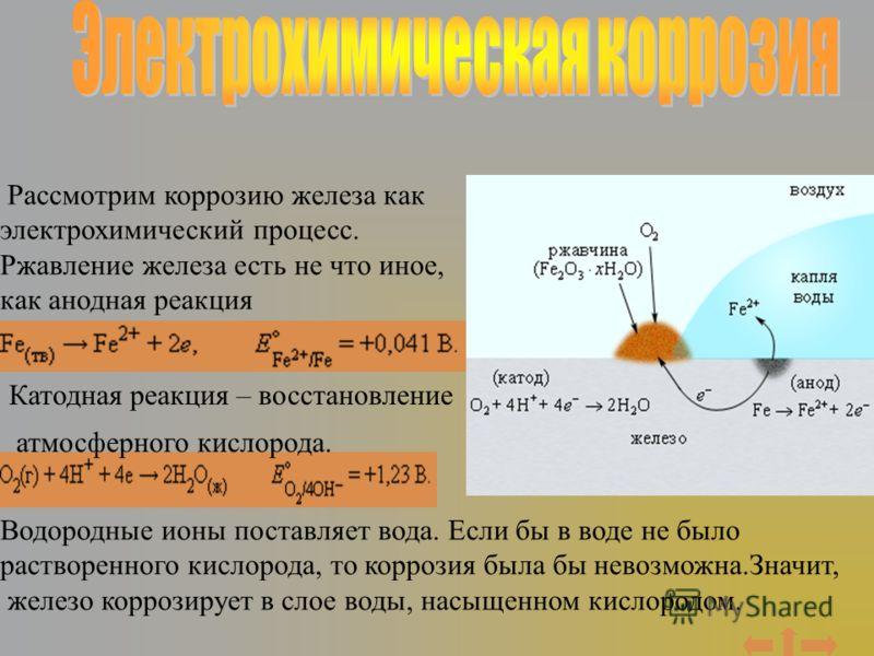 Рассмотрим коррозию железа как электрохимический процесс. Ржавление железа есть не что иное, как анодная реакция Катодная реакция – восстановление атмосферного кислорода. Водородные ионы поставляет вода. Если бы в воде не было растворенного кислорода