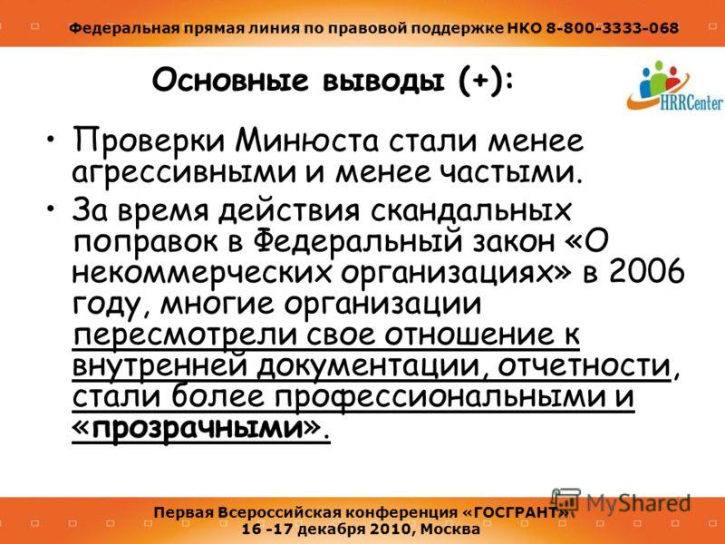 Федеральная прямая линия по правовой поддержке НКО 8-800-3333-068 Первая Всероссийская конференция «ГОСГРАНТ» 16 -17 декабря 2010, Москва Основные выводы (+): Проверки Минюста стали менее агрессивными и менее частыми. За время действия скандальных по