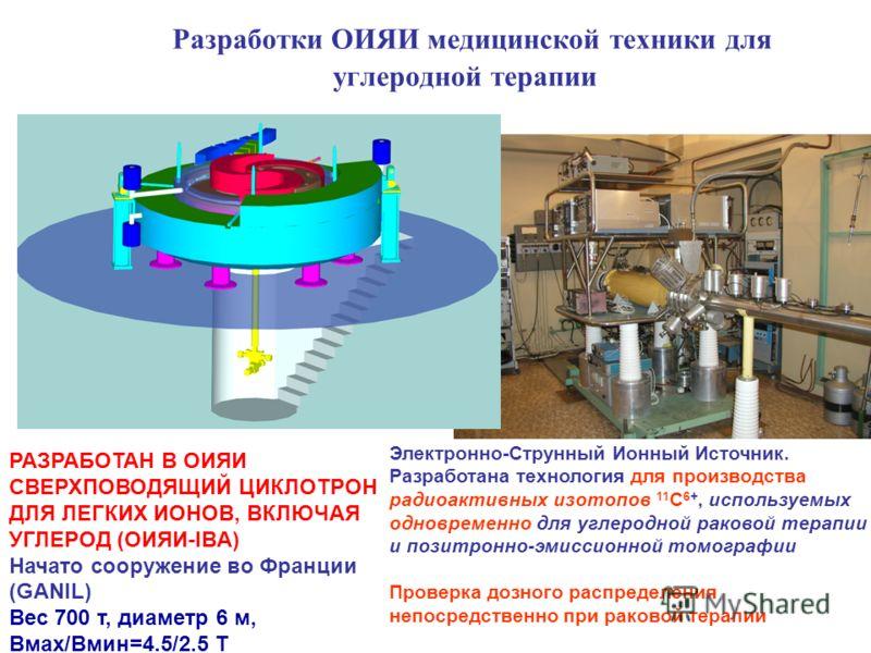 Электронно-Струнный Ионный Источник. Разработана технология для производства радиоактивных изотопов 11 C 6+, используемых одновременно для углеродной раковой терапии и позитронно-эмиссионной томографии Проверка дозного распределения непосредственно п