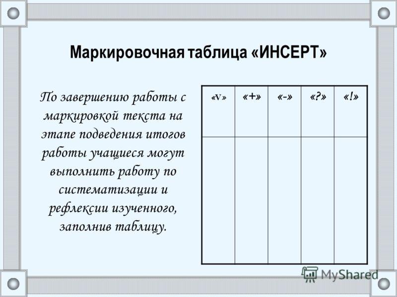 Маркировочная таблица «ИНСЕРТ» По завершению работы с маркировкой текста на этапе подведения итогов работы учащиеся могут выполнить работу по систематизации и рефлексии изученного, заполнив таблицу. «V»«V» «+»«-»«?»«!»