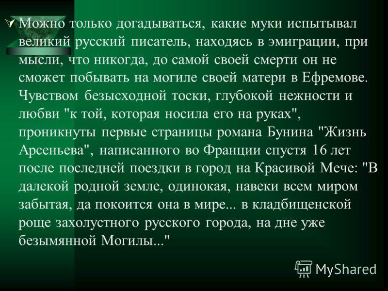 Можно только догадываться, какие муки испытывал великий русский писатель, находясь в эмиграции, при мысли, что никогда, до самой своей смерти он не сможет побывать на могиле своей матери в Ефремове. Чувством безысходной тоски, глубокой нежности и люб