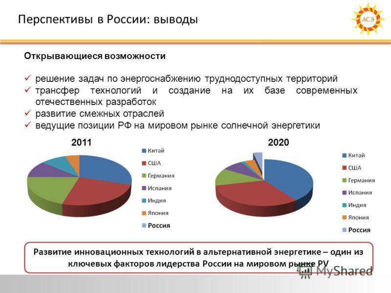 Перспективы в России: выводы Открывающиеся возможности решение задач по энергоснабжению труднодоступных территорий трансфер технологий и создание на их базе современных отечественных разработок развитие смежных отраслей ведущие позиции РФ на мировом