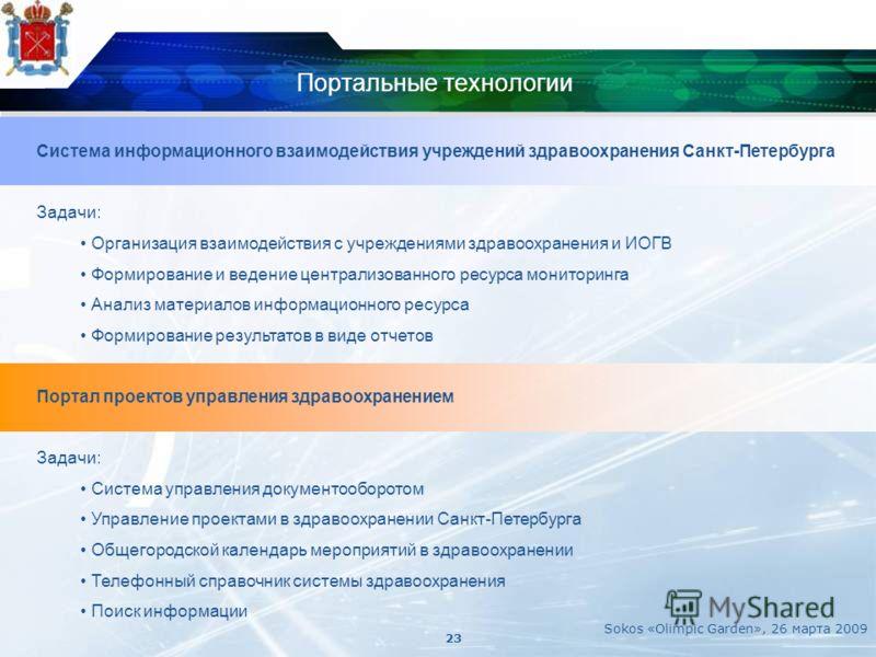 Портальные технологии Система информационного взаимодействия учреждений здравоохранения Санкт-Петербурга Задачи: Организация взаимодействия с учреждениями здравоохранения и ИОГВ Формирование и ведение централизованного ресурса мониторинга Анализ мате