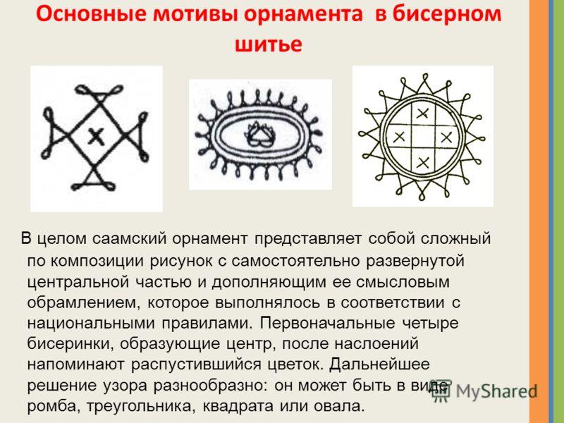 Основные мотивы орнамента в бисерном шитье В целом саамский орнамент представляет собой сложный по композиции рисунок с самостоятельно развернутой центральной частью и дополняющим ее смысловым обрамлением, которое выполнялось в соответствии с национа