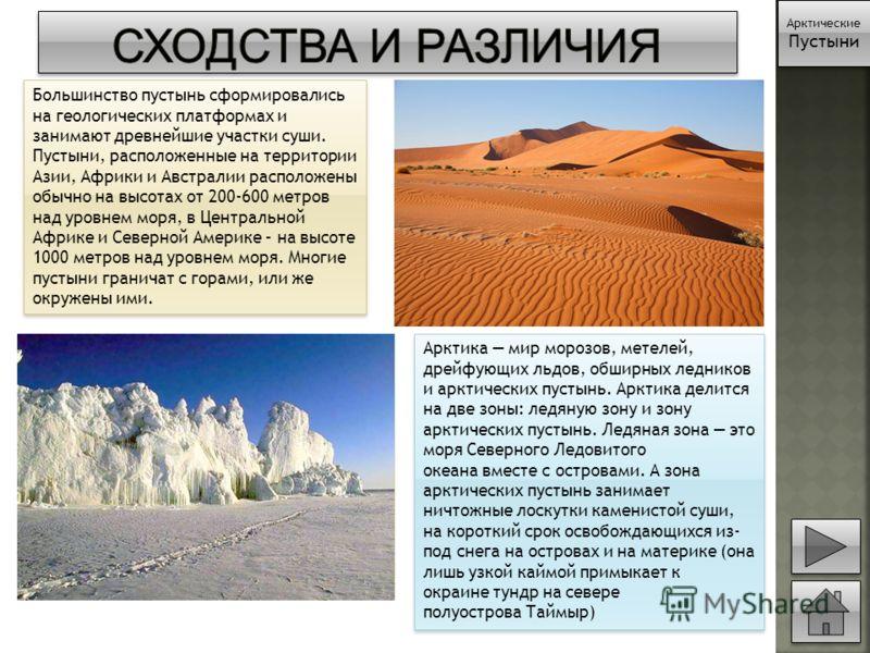 Большинство пустынь сформировались на геологических платформах и занимают древнейшие участки суши. Пустыни, расположенные на территории Азии, Африки и Австралии расположены обычно на высотах от 200-600 метров над уровнем моря, в Центральной Африке и