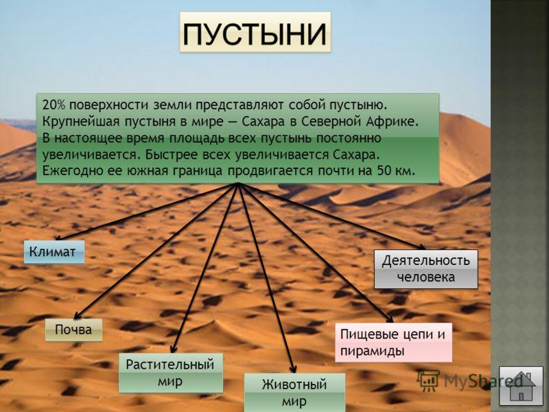20% поверхности земли представляют собой пустыню. Крупнейшая пустыня в мире Сахара в Северной Африке. В настоящее время площадь всех пустынь постоянно увеличивается. Быстрее всех увеличивается Сахара. Ежегодно ее южная граница продвигается почти на 5