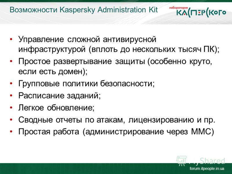 Возможности Kaspersky Administration Kit forum.itpeople.in.ua Управление сложной антивирусной инфраструктурой (вплоть до нескольких тысяч ПК); Простое развертывание защиты (особенно круто, если есть домен); Групповые политики безопасности; Расписание