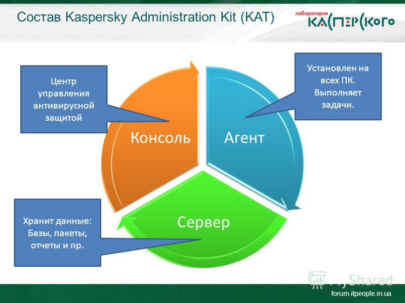 Состав Kaspersky Administration Kit (KAT) forum.itpeople.in.ua Агент Сервер Консоль Центр управления антивирусной защитой Установлен на всех ПК. Выполняет задачи. Хранит данные: Базы, пакеты, отчеты и пр.