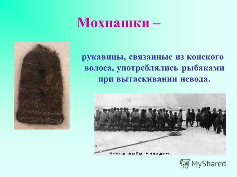 Мохнашки – рукавицы, связанные из конского волоса, употреблялись рыбаками при вытаскивании невода.