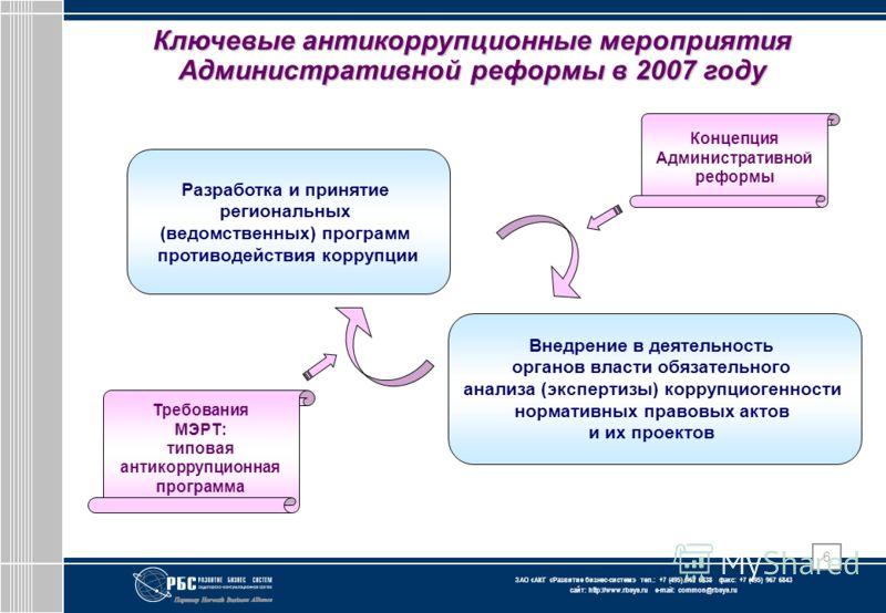 ЗАО « АКГ « Развитие бизнес-систем » тел.: +7 (495) 967 6838 факс: +7 (495) 967 6843 сайт: http://www.rbsys.ru e-mail: common@rbsys.ru 6 Ключевые антикоррупционные мероприятия Административной реформы в 2007 году Разработка и принятие региональных (в
