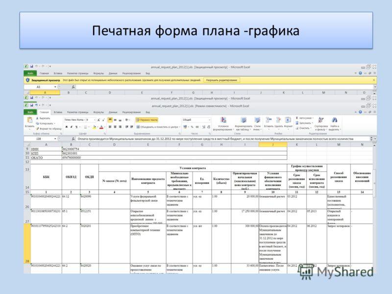 Печатная форма плана -графика