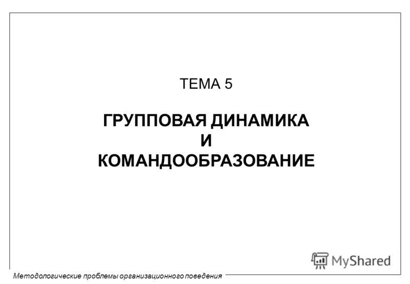 Методологические проблемы организационного поведения ТЕМА 5 ГРУППОВАЯ ДИНАМИКА И КОМАНДООБРАЗОВАНИЕ