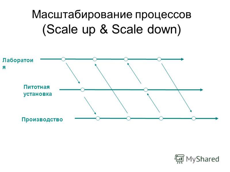 Mасштабированиe процессов (Scale up & Scale down) Производство Лаборатои я Питотная установка