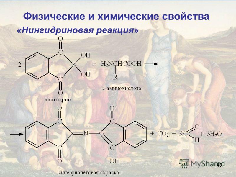 43 «Нингидриновая реакция» Физические и химические свойства