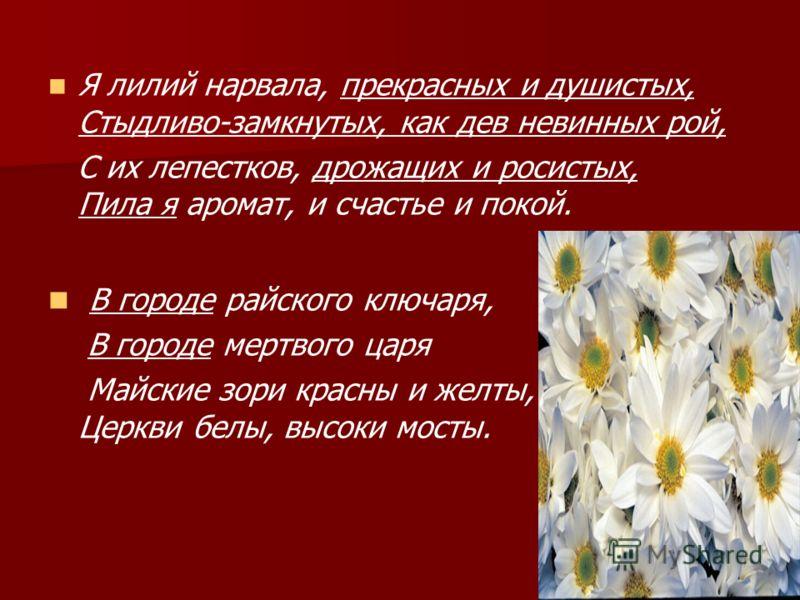 Я лилий нарвала, прекрасных и душистых, Стыдливо-замкнутых, как дев невинных рой, С их лепестков, дрожащих и росистых, Пила я аромат, и счастье и покой. В городе райского ключаря, В городе мертвого царя Майские зори красны и желты, Церкви белы, высок
