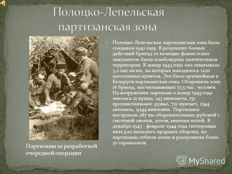 Полоцко-Лепельская партизанская зона была создана в 1942 году. В результате боевых действий бригад от немецко-фашистских оккупантов была освобождена значительная территория. К концу 1943 года она охватывала 3,2 тыс.кв.км, на которых находилось 1220 н