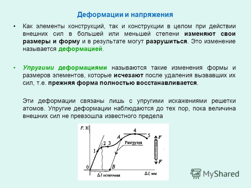 Деформации и напряжения Как элементы конструкций, так и конструкции в целом при действии внешних сил в большей или меньшей степени изменяют свои размеры и форму и в результате могут раэрушиться. Это изменение называется деформацией. Упругими деформац