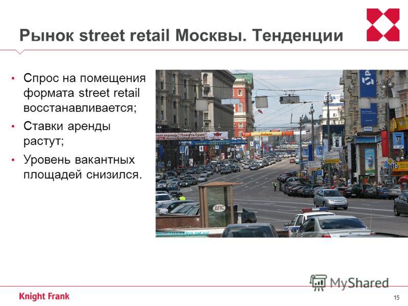 15 Рынок street retail Москвы. Тенденции Спрос на помещения формата street retail восстанавливается; Ставки аренды растут; Уровень вакантных площадей снизился.