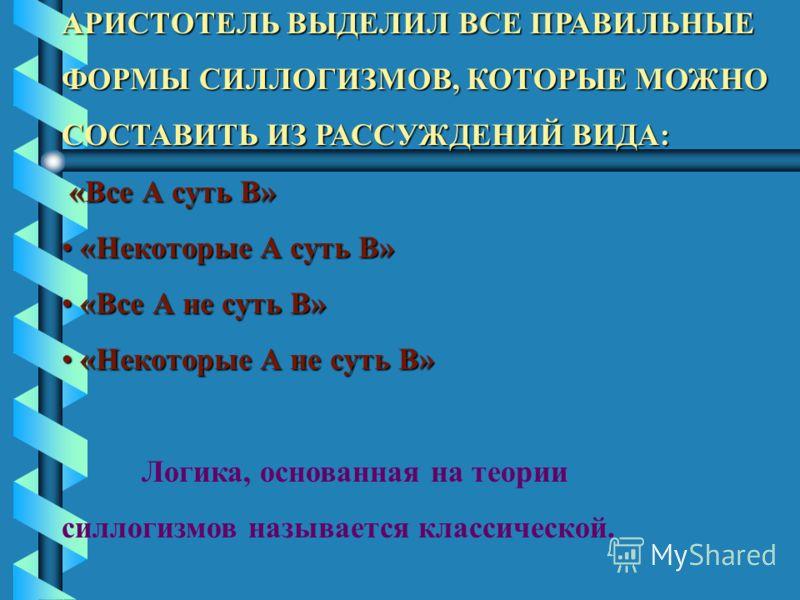 АРИСТОТЕЛЬ ВЫДЕЛИЛ ВСЕ ПРАВИЛЬНЫЕ ФОРМЫ СИЛЛОГИЗМОВ, КОТОРЫЕ МОЖНО СОСТАВИТЬ ИЗ РАССУЖДЕНИЙ ВИДА: «Все А суть В» «Некоторые А суть В» «Некоторые А суть В» «Все А не суть В» «Все А не суть В» «Некоторые А не суть В» «Некоторые А не суть В» Логика, осн