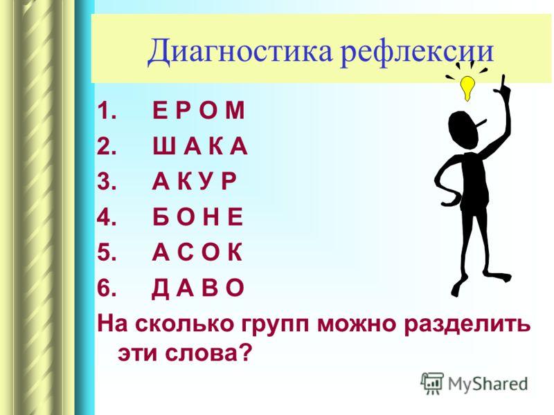 Диагностика рефлексии 1.Е Р О М 2.Ш А К А 3.А К У Р 4.Б О Н Е 5.А С О К 6.Д А В О На сколько групп можно разделить эти слова?