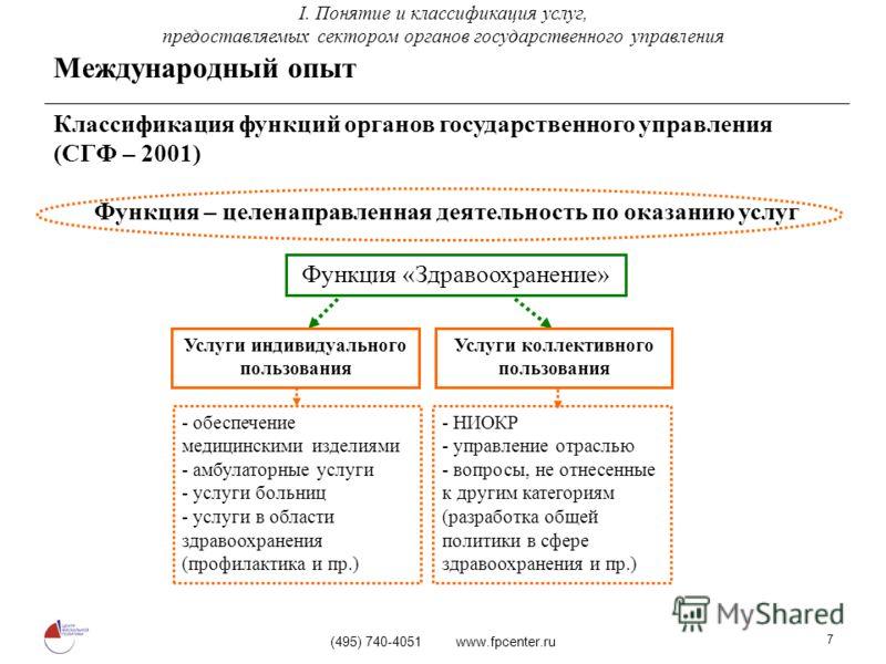 (495) 740-4051 www.fpcenter.ru 7 Классификация функций органов государственного управления (СГФ – 2001) Функция – целенаправленная деятельность по оказанию услуг Функция «Здравоохранение» Услуги индивидуального пользования Услуги коллективного пользо