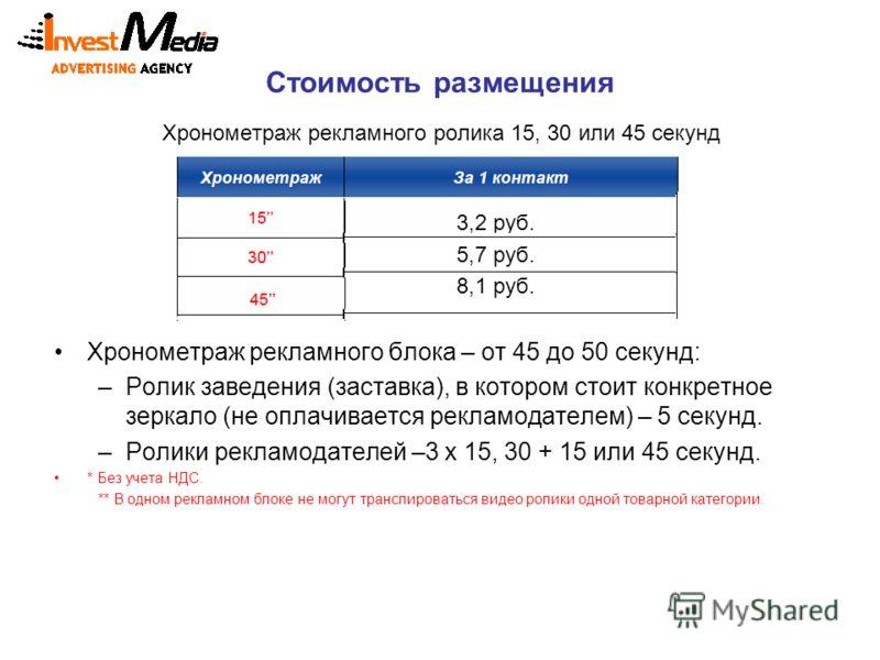 Стоимость размещения Хронометраж рекламного ролика 15, 30 или 45 секунд 3,2 руб. 5,7 руб. 8,1 руб. Хронометраж рекламного блока – от 45 до 50 секунд: –Ролик заведения (заставка), в котором стоит конкретное зеркало (не оплачивается рекламодателем) – 5