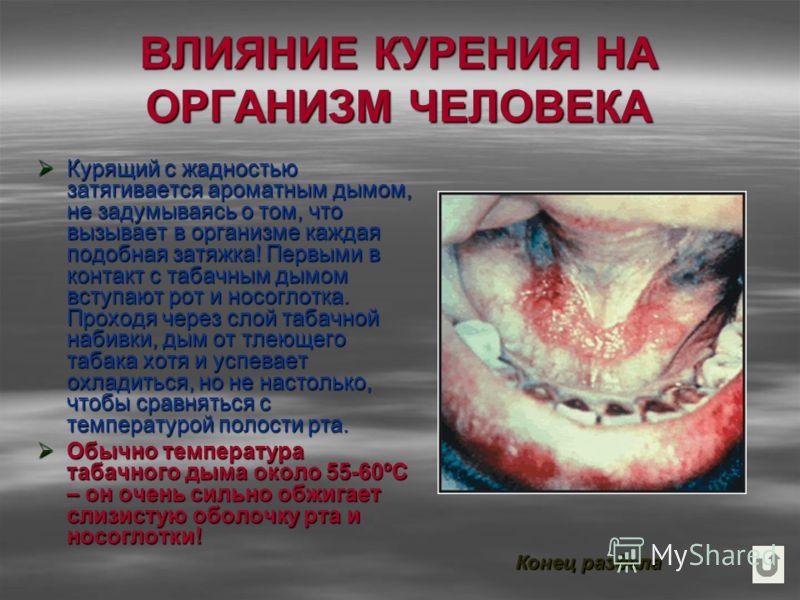 ВЛИЯНИЕ КУРЕНИЯ НА ОРГАНИЗМ ЧЕЛОВЕКА Курящий с жадностью затягивается ароматным дымом, не задумываясь о том, что вызывает в организме каждая подобная затяжка! Первыми в контакт с табачным дымом вступают рот и носоглотка. Проходя через слой табачной н