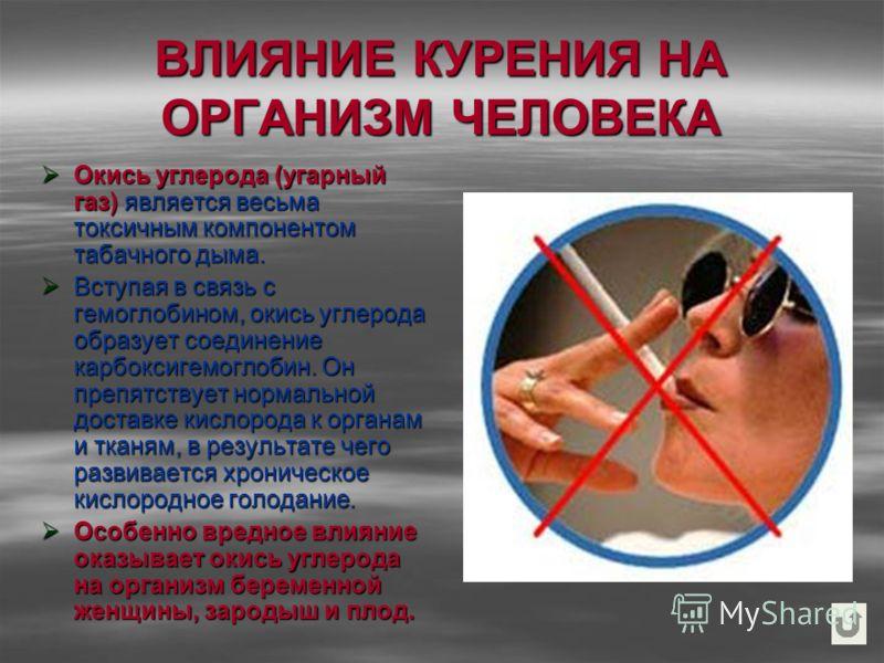 ВЛИЯНИЕ КУРЕНИЯ НА ОРГАНИЗМ ЧЕЛОВЕКА Окись углерода (угарный газ) является весьма токсичным компонентом табачного дыма. Окись углерода (угарный газ) является весьма токсичным компонентом табачного дыма. Вступая в связь с гемоглобином, окись углерода