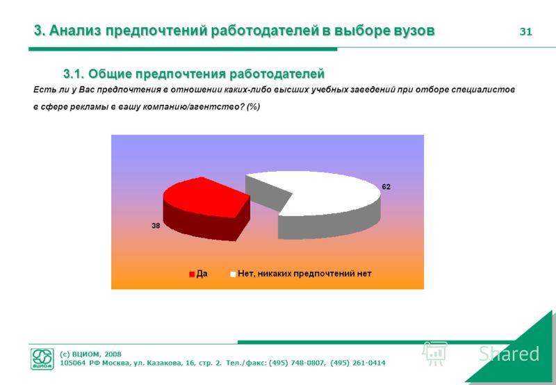 (с) ВЦИОМ, 2008 105064 РФ Москва, ул. Казакова, 16, стр. 2. Тел./факс: (495) 748-0807, (495) 261-0414 31 3. Анализ предпочтений работодателей в выборе вузов 3.1. Общие предпочтения работодателей Есть ли у Вас предпочтения в отношении каких-либо высши
