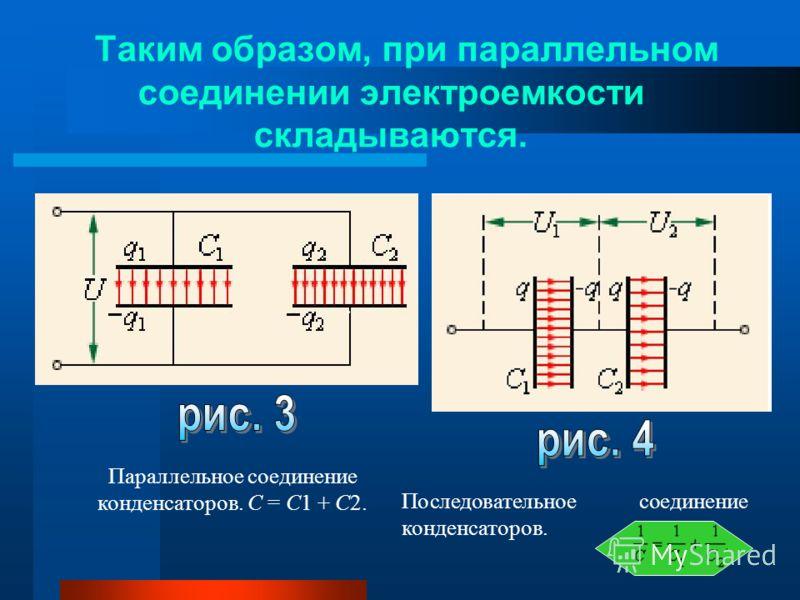 Таким образом, при параллельном соединении электроемкости складываются. Параллельное соединение конденсаторов. C = C1 + C2. Последовательное соединение конденсаторов..
