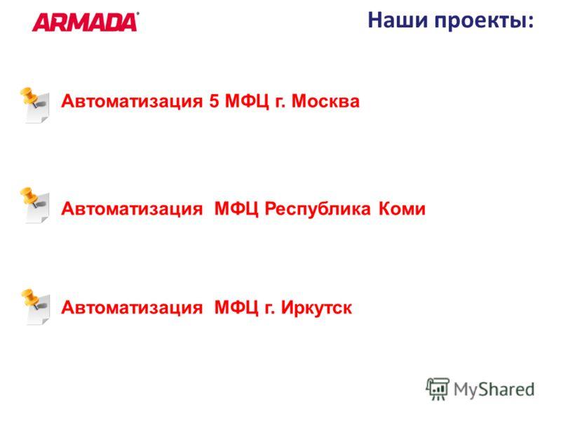 Наши проекты: Автоматизация 5 МФЦ г. Москва Автоматизация МФЦ Республика Коми Автоматизация МФЦ г. Иркутск